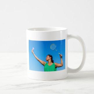 Caneca De Café Saque colombiano da mulher com raquete de
