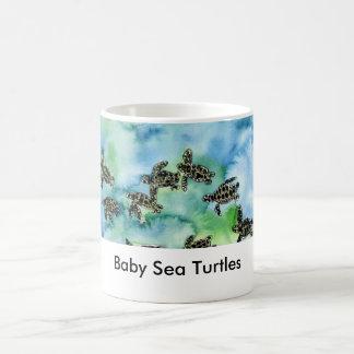 Caneca De Café sea_turtles_painting, tartarugas de mar do bebê