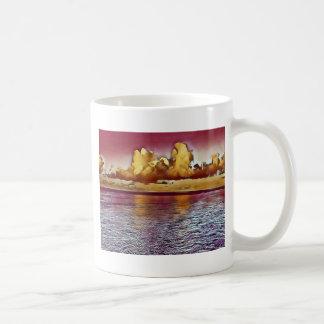 Caneca De Café Seascape artístico bonito do ouro do rosa da