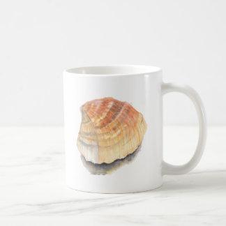 Caneca De Café Seashell do berbigão, alaranjado e amarelo da