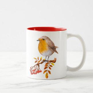 caneca de café selvagem das bagas do pássaro do