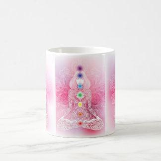 Caneca De Café Senhora cor-de-rosa de sete Chakras
