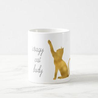 Caneca De Café Senhora louca do gato do ouro
