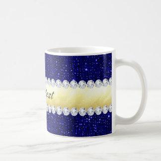 Caneca De Café Sequins personalizados do marinho, ouro, diamantes