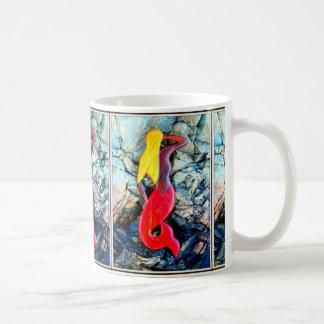 Caneca De Café sereias louras no vermelho