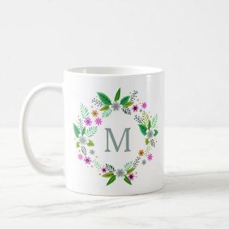Caneca De Café Seu monograma em um quadro da flor