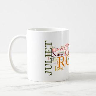 Caneca De Café Shakespeare Romeo & nuvem da palavra de Juliet