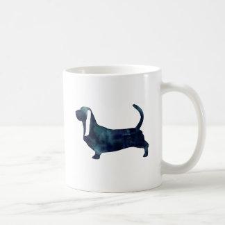 Caneca De Café Silhueta da aguarela do preto do cão de Basset