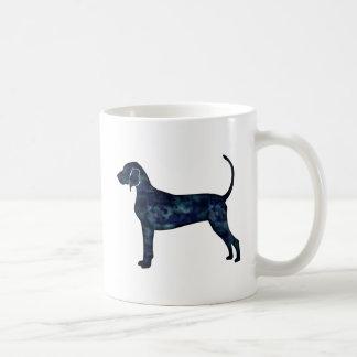 Caneca De Café Silhueta da aguarela do preto do cão do Coonhound