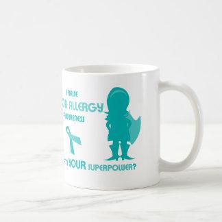 Caneca De Café Silhueta da consciência da alergia de comida da