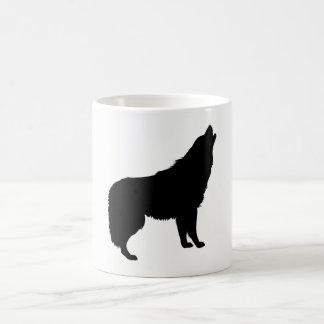 Caneca De Café Silhueta do lobo do urro