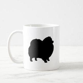 Caneca De Café Silhuetas pretas de Pomeranian