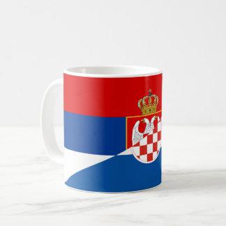 Caneca De Café símbolo do país da bandeira de serbia croatia meio