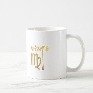 Caneca De Café Símbolo do zodíaco do Virgo da folha de ouro do
