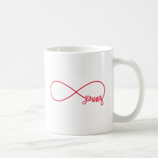 Caneca De Café sinal para sempre novo, vermelho da infinidade