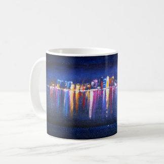 Caneca De Café Skyline da cidade da noite, pintura a óleo de