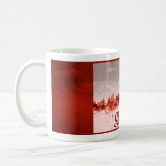 Caneca De Café Skyline de Ottawa com grunge vermelho