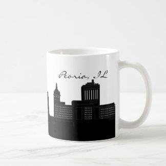 Caneca De Café Skyline de Peoria preto e branco, Illinois