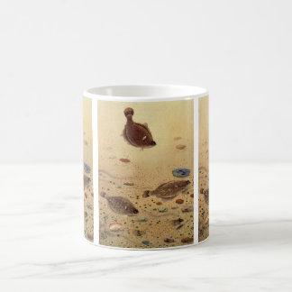 Caneca De Café Solhas do vintage, peixes lisos da vida marinha do