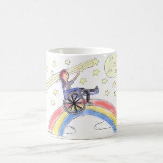 Caneca De Café Sonhos da cadeira de rodas - sobre o arco-íris
