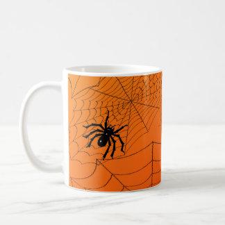 Caneca De Café Spiderwebs na laranja