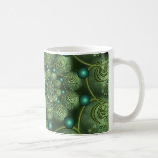 Caneca De Café Spiral and Spheres Green Fractal