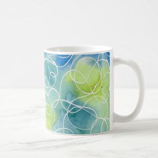 Caneca De Café Squiggle de mármore azul & verde