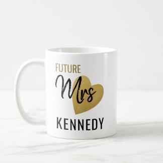 Caneca De Café Sra. futura Ouro Coração Preto Branco