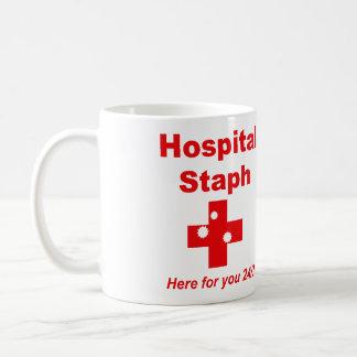 Caneca De Café Staph do hospital (vermelho & branco)