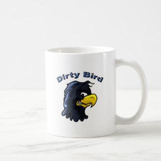 Caneca de café suja do pássaro