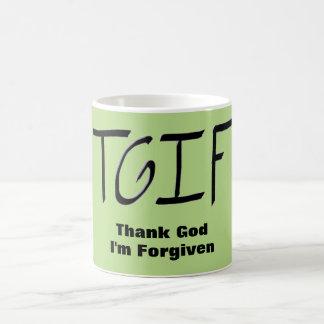 Caneca De Café T.G.I.F. - Deus do obrigado eu sou perdoado a