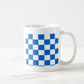 Caneca De Café Tabuleiros de damas azuis e brancos