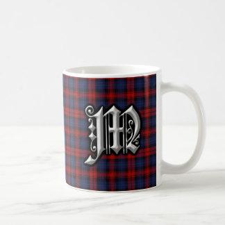 Caneca De Café Tartan azul vermelho do monograma da letra M de