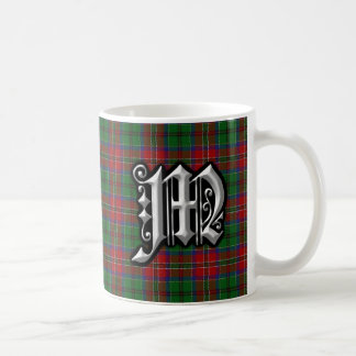 Caneca De Café Tartan do monograma da letra M de MacCulloch do
