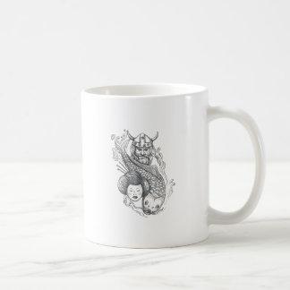 Caneca De Café Tatuagem da cabeça da gueixa da carpa de Viking