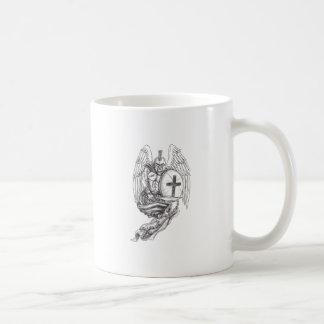 Caneca De Café Tatuagem espartano do rosário do protetor do anjo