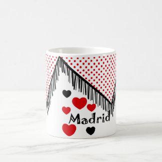 Caneca De Café Taza para recordar Madrid en lunares rojos mantón