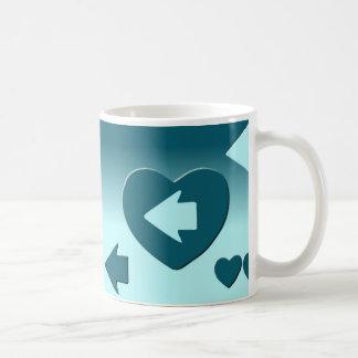 Caneca De Café Taza que sigue la flecha de tu corazón azul