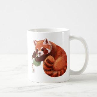 Caneca De Café Tempo do chá da panda vermelha