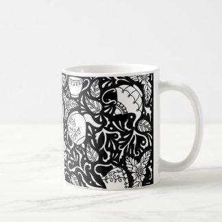 Caneca De Café Tempo do chá preto e branco