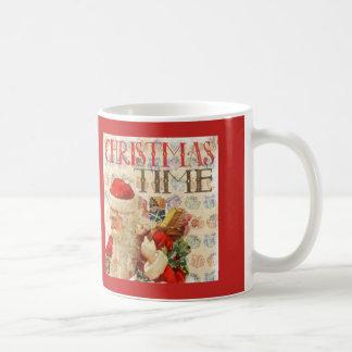 Caneca De Café Tempo Papai Noel do natal vintage
