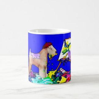 """Caneca De Café Terrier Wheaten: """"O pintor"""" (azul)"""