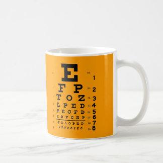 Caneca De Café Teste da acuidade visual: Carta de olho retro da