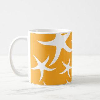 Caneca De Café Teste padrão alaranjado e branco ensolarado da