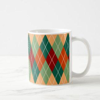 Caneca De Café Teste padrão alaranjado vermelho verde de Argyle
