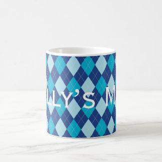 Caneca De Café Teste padrão azul Personnalised de Argyle
