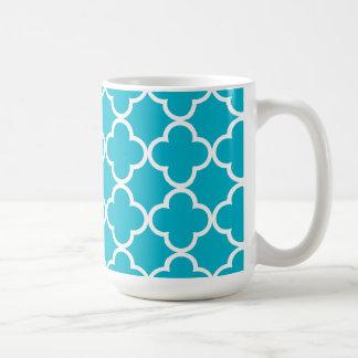 Caneca De Café Teste padrão branco azul do marroquino de