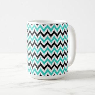 Caneca De Café Teste padrão branco, preto e de turquesa do