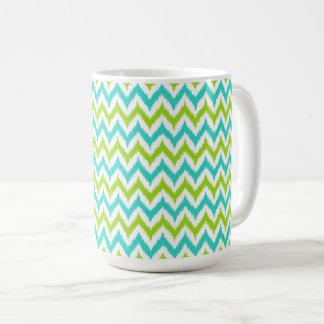 Caneca De Café Teste padrão branco, verde e de turquesa do