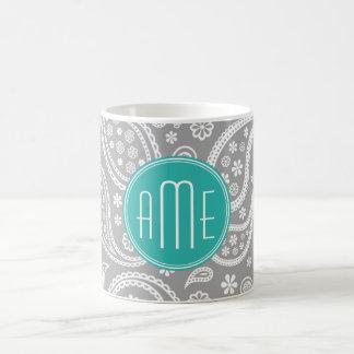 Caneca De Café Teste padrão cinzento floral chique de Paisley &